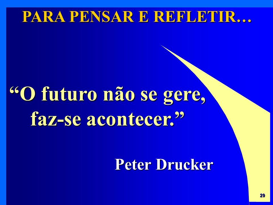 29 PARA PENSAR E REFLETIR… O futuro não se gere, faz-se acontecer. Peter Drucker