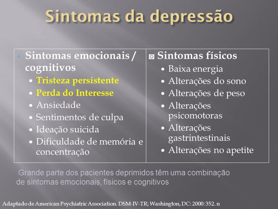 Adaptado de American Psychiatric Association. DSM-IV-TR; Washington, DC: 2000: 352. n Grande parte dos pacientes deprimidos têm uma combinação de sint