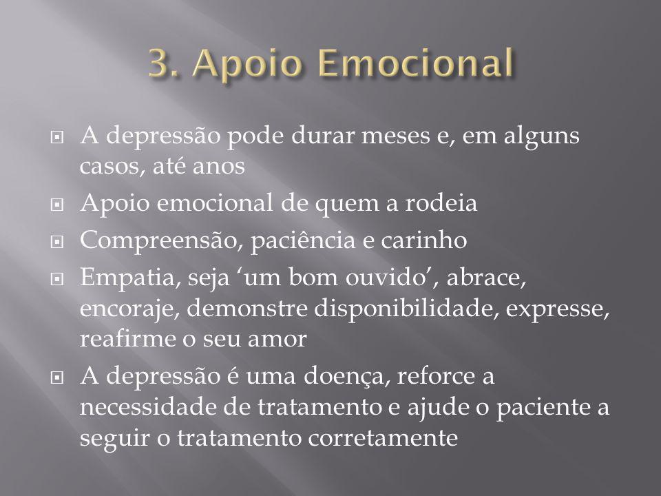 A depressão pode durar meses e, em alguns casos, até anos Apoio emocional de quem a rodeia Compreensão, paciência e carinho Empatia, seja um bom ouvid