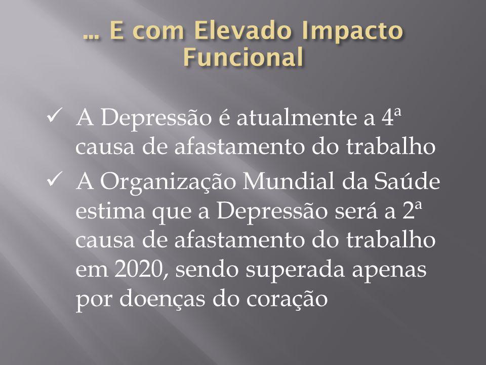 A Depressão é atualmente a 4ª causa de afastamento do trabalho A Organização Mundial da Saúde estima que a Depressão será a 2ª causa de afastamento do