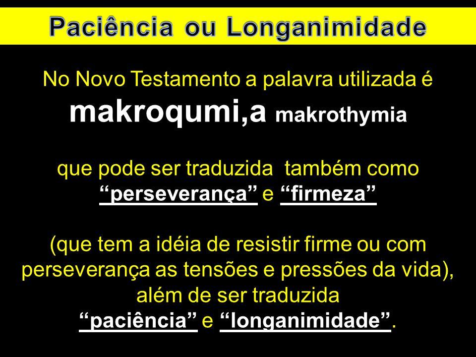 No Novo Testamento a palavra utilizada é makroqumi,a makrothymia que pode ser traduzida também como perseverança e firmeza (que tem a idéia de resisti