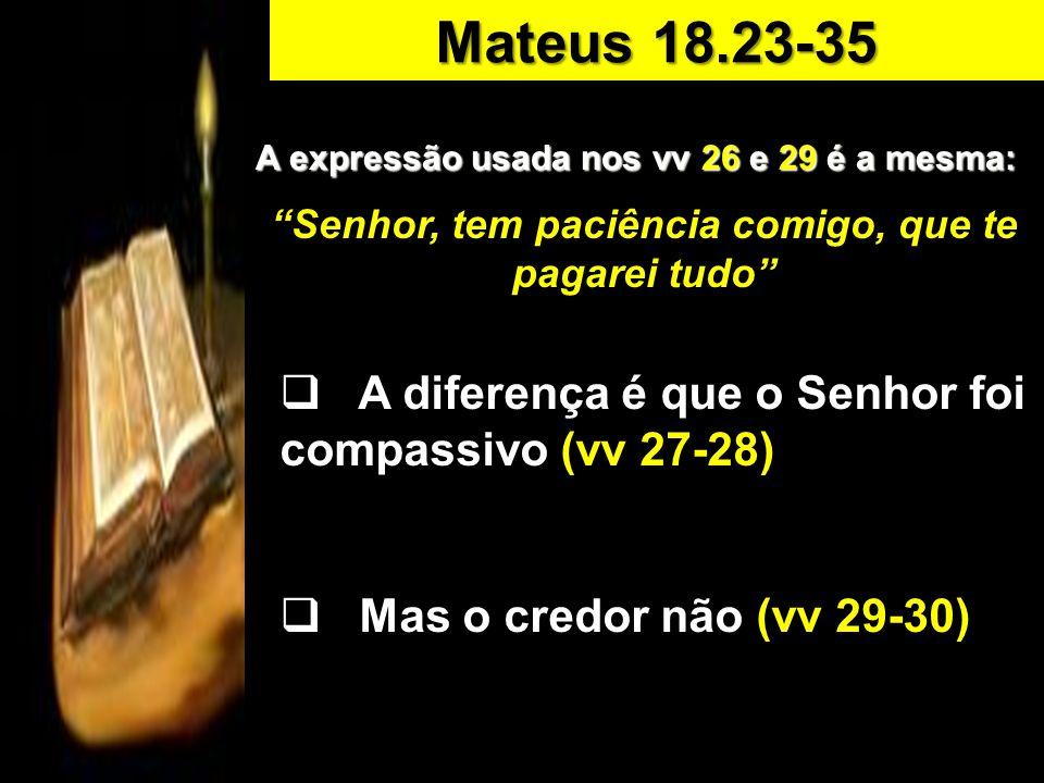 A expressão usada nos vv 26 e 29 é a mesma: Senhor, tem paciência comigo, que te pagarei tudo A diferença é que o Senhor foi compassivo (vv 27-28) Mas