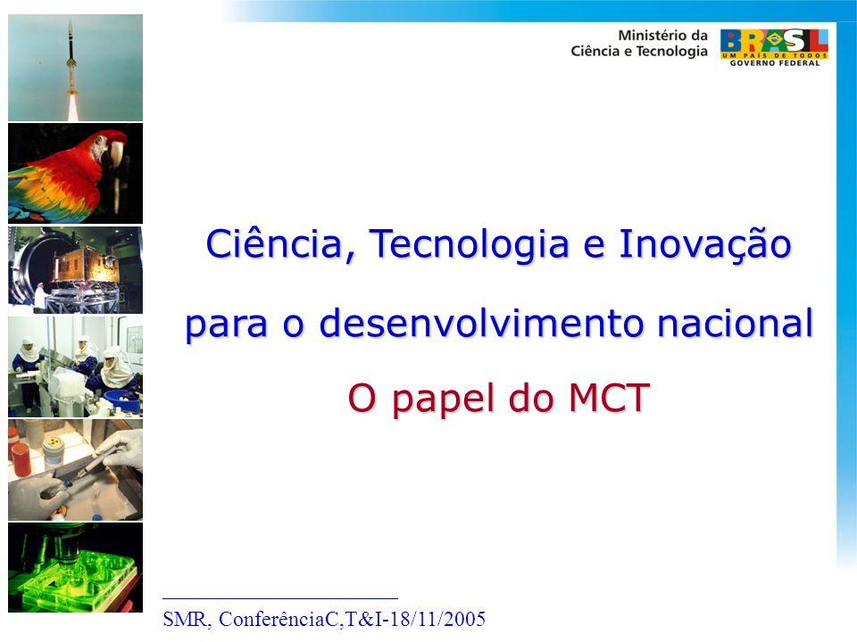 Ciência, Tecnologia e Inovação para o desenvolvimento nacional O papel do MCT ______________________ SMR, ConferênciaC,T&I-18/11/2005