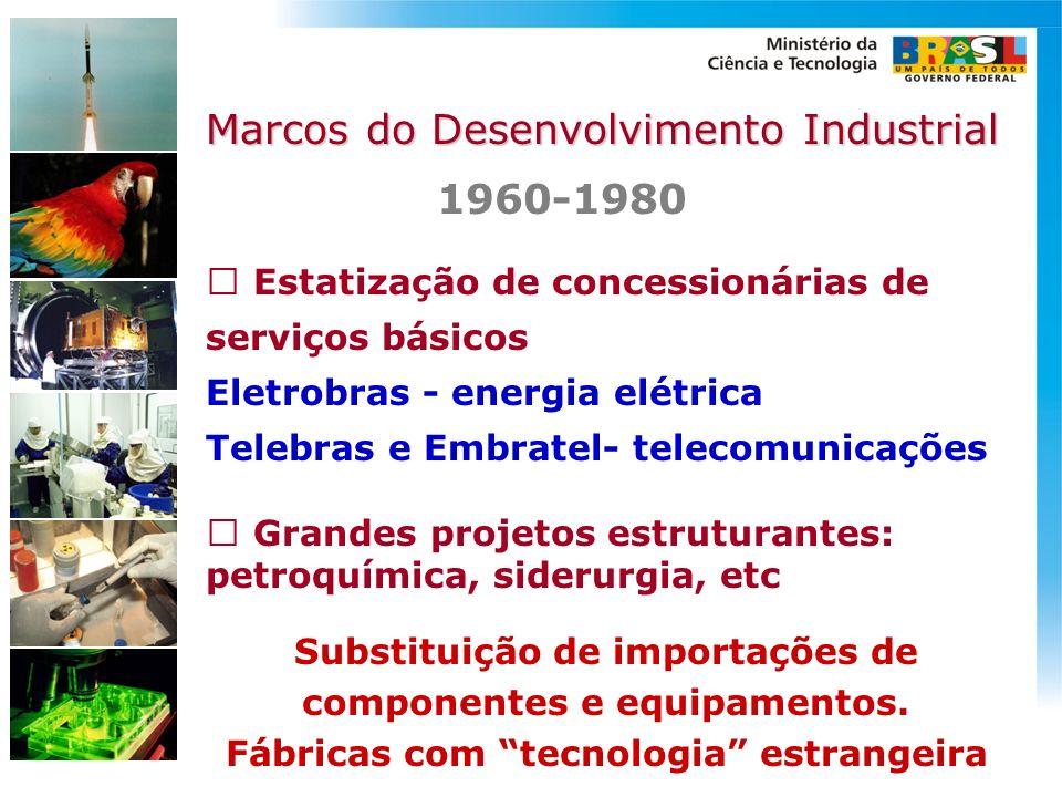 Estatização de concessionárias de serviços básicos Eletrobras - energia elétrica Telebras e Embratel- telecomunicações 1960-1980 Substituição de impor