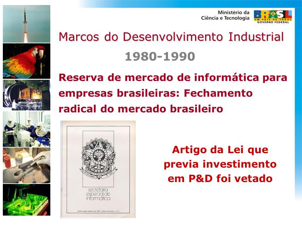 Reserva de mercado de informática para empresas brasileiras: Fechamento radical do mercado brasileiro 1980-1990 Marcos do Desenvolvimento Industrial A