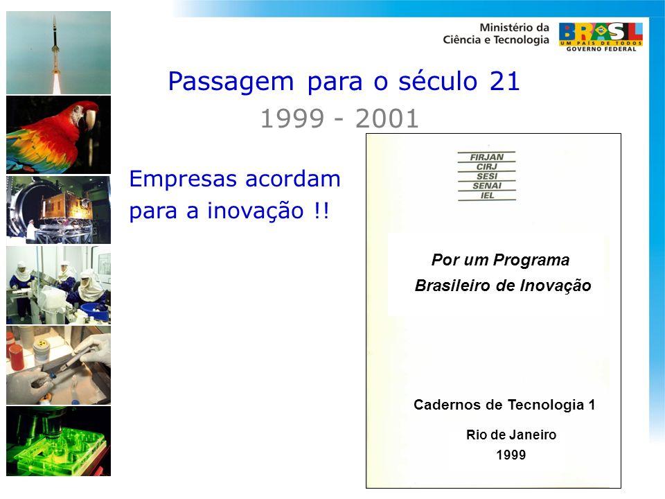 Empresas acordam para a inovação !! Por um Programa Brasileiro de Inovação Rio de Janeiro 1999 Cadernos de Tecnologia 1 Passagem para o século 21 1999