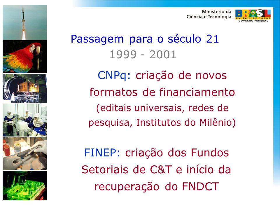 FINEP: criação dos Fundos Setoriais de C&T e início da recuperação do FNDCT CNPq: criação de novos formatos de financiamento (editais universais, rede