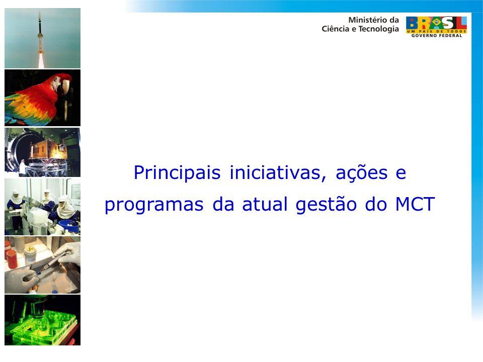 Principais iniciativas, ações e programas da atual gestão do MCT