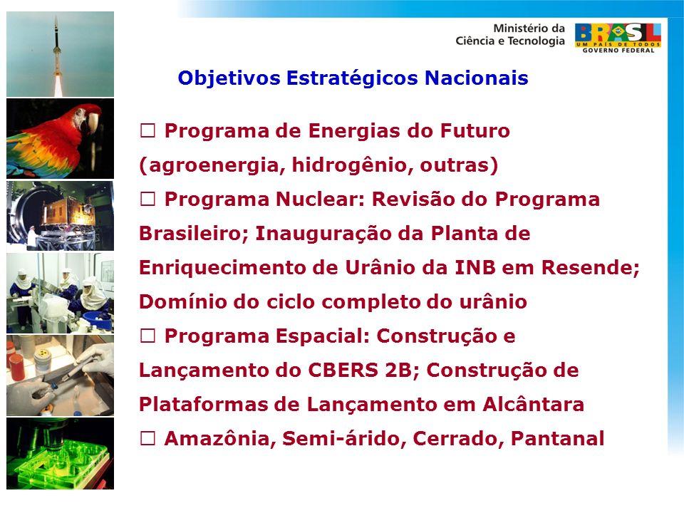 Objetivos Estratégicos Nacionais  Programa de Energias do Futuro (agroenergia, hidrogênio, outras)  Programa Nuclear: Revisão do Programa Brasileiro