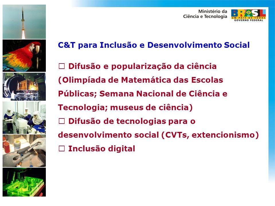 C&T para Inclusão e Desenvolvimento Social Difusão e popularização da ciência (Olimpíada de Matemática das Escolas Públicas; Semana Nacional de Ciênci