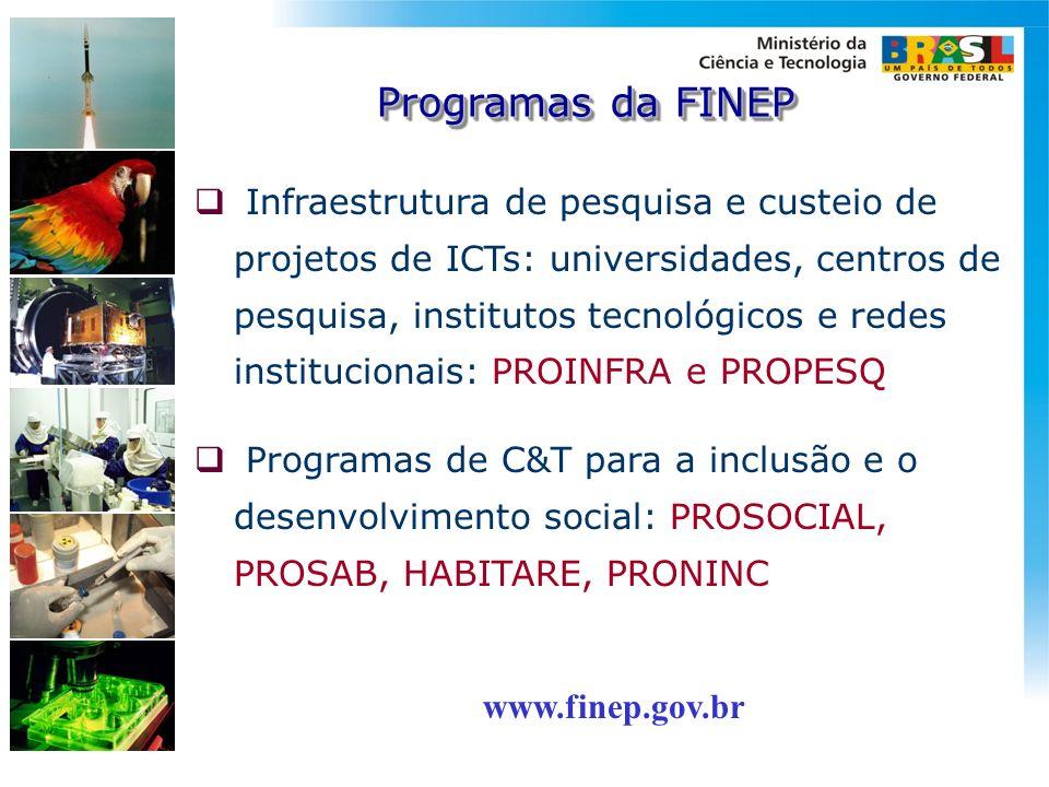 Infraestrutura de pesquisa e custeio de projetos de ICTs: universidades, centros de pesquisa, institutos tecnológicos e redes institucionais: PROINFRA