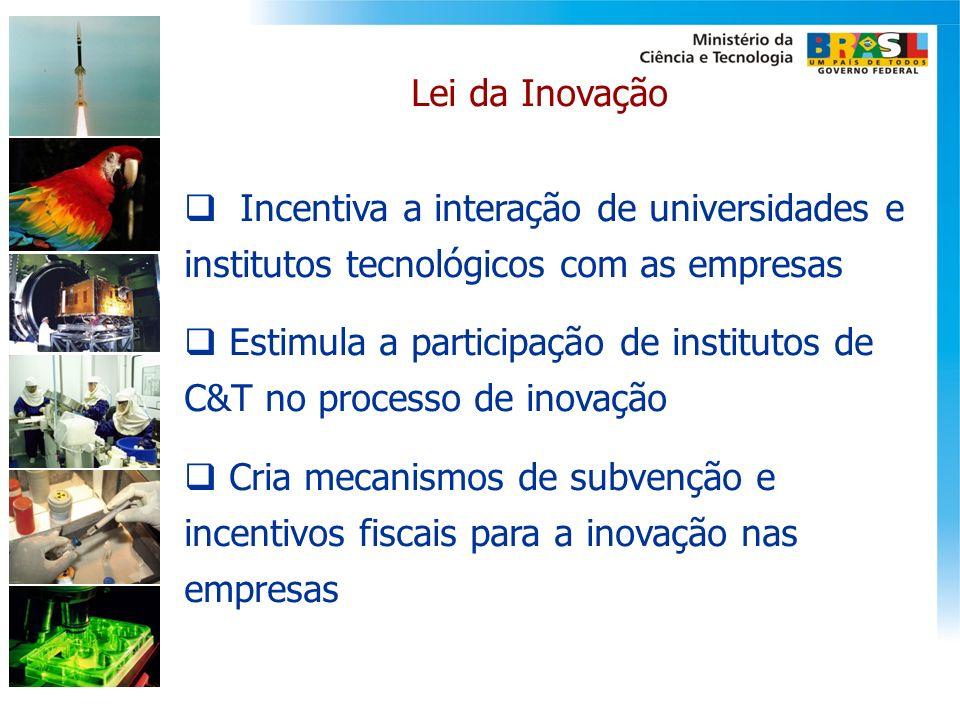 Lei da Inovação Incentiva a interação de universidades e institutos tecnológicos com as empresas Estimula a participação de institutos de C&T no proce