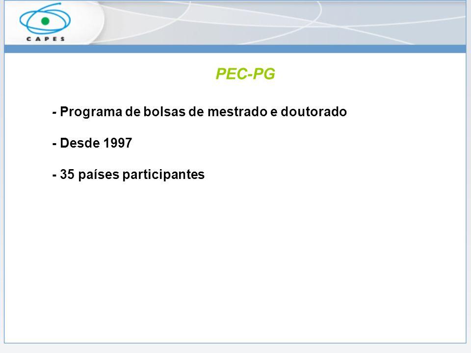 PEC-PG - Programa de bolsas de mestrado e doutorado - Desde 1997 - 35 países participantes