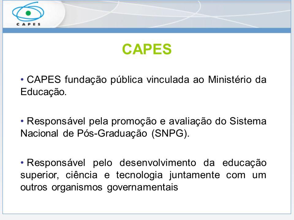 CAPES CAPES fundação pública vinculada ao Ministério da Educação. Responsável pela promoção e avaliação do Sistema Nacional de Pós-Graduação (SNPG). R