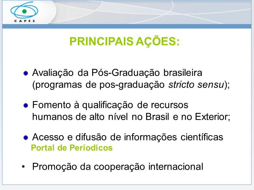PRINCIPAIS AÇÕES: Avaliação da Pós-Graduação brasileira (programas de pos-graduação stricto sensu); Fomento à qualificação de recursos humanos de alto