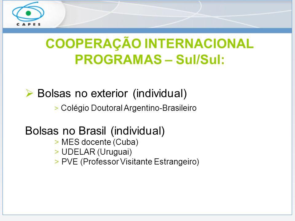 COOPERAÇÃO INTERNACIONAL PROGRAMAS – Sul/Sul: Bolsas no exterior (individual) > Colégio Doutoral Argentino-Brasileiro Bolsas no Brasil (individual) >