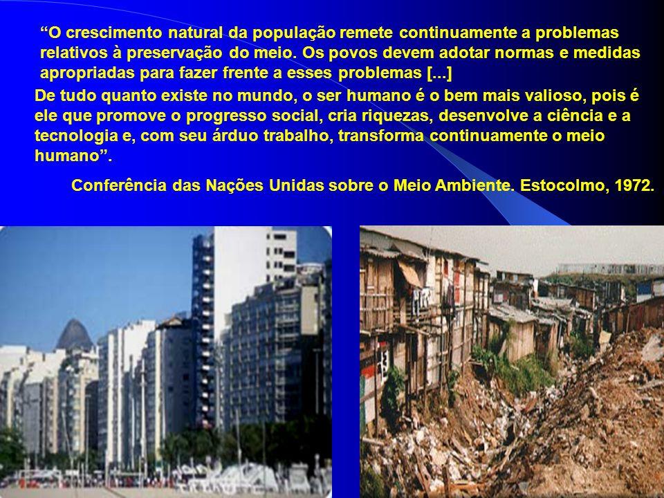 O crescimento natural da população remete continuamente a problemas relativos à preservação do meio.