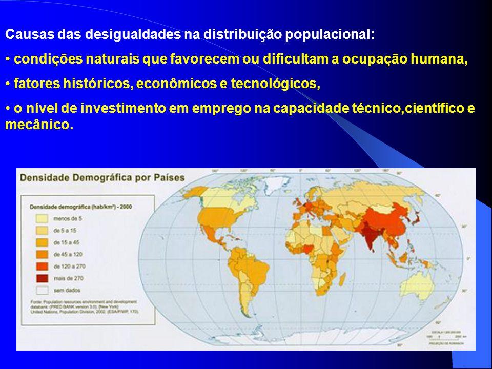 A população mundial se encontra muito mal distribuída na superfície terrestre. Próximo às regiões densamente povoadas aparecem vazios demográficos. Di