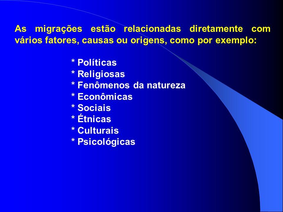 A migrações temporárias podem ser: Diárias (pendular ou commuting); Lazer (turismo); Sazonais (transumância); Nomadismo; Tempo indeterminado.