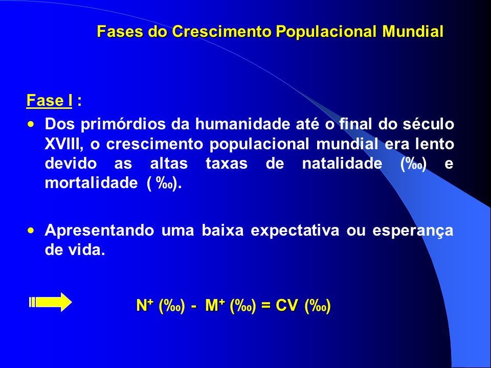 Fase I : Dos primórdios da humanidade até o final do século XVIII, o crescimento populacional mundial era lento devido as altas taxas de natalidade () e mortalidade ( ).