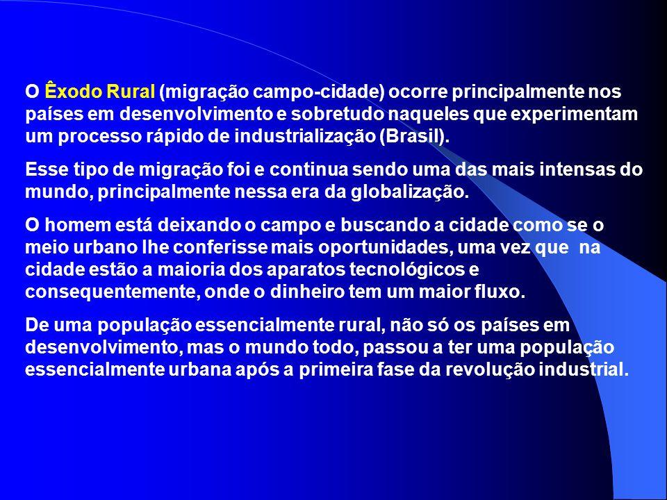 Migrações internas Êxodo Rural (campo-cidade) Pendular (diária) Transumância (sazonal) Migração rural-rural Migração urbana-urbana Migração urbana-rur