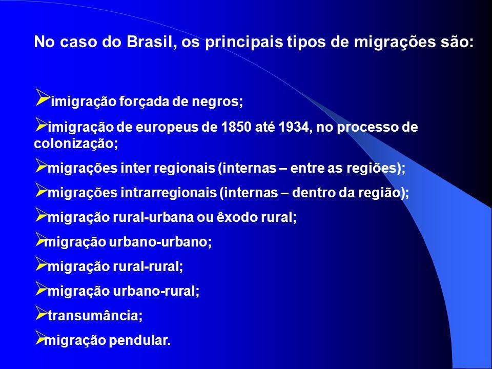 As migrações internas no território brasileiro, correspondem aos movimentos populacionais que ocorrem sem alterar a sua população total. Provocam gran