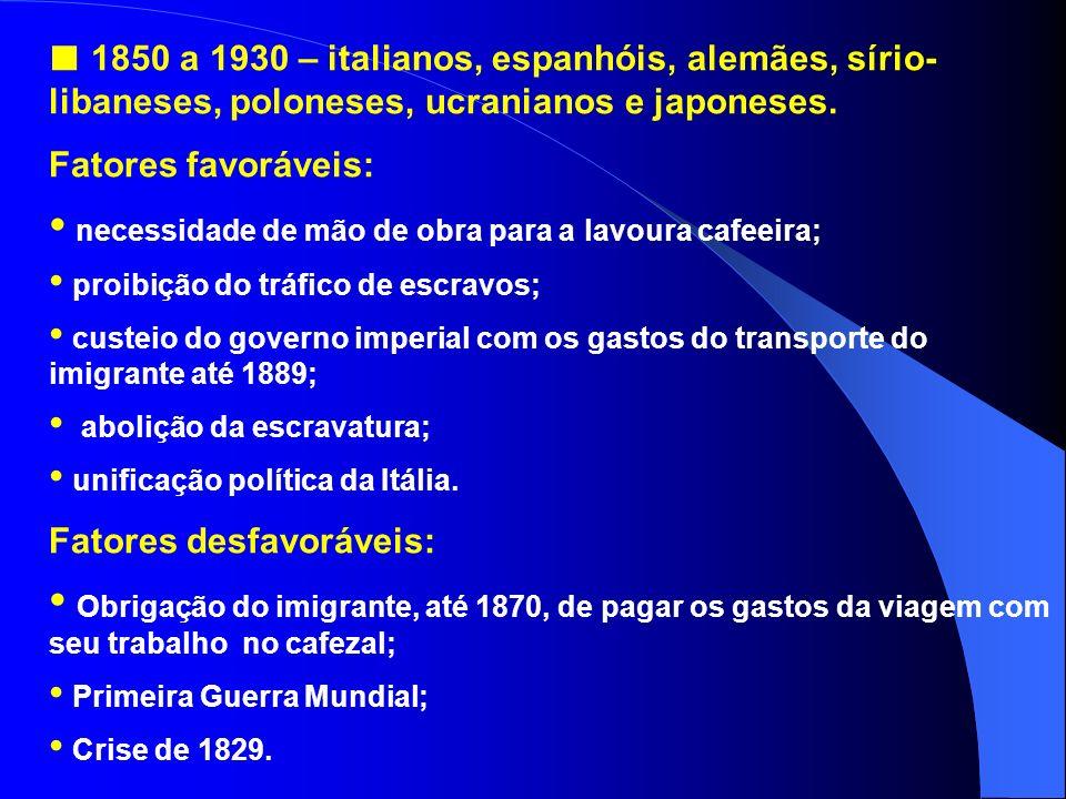 Períodos da imigração para o Brasil 1808 a 1850 – pequeno fluxo: Rio Grande do Sul – açorianos (1808); Rio de Janeiro – Suiços (1818); Rio Grande do S