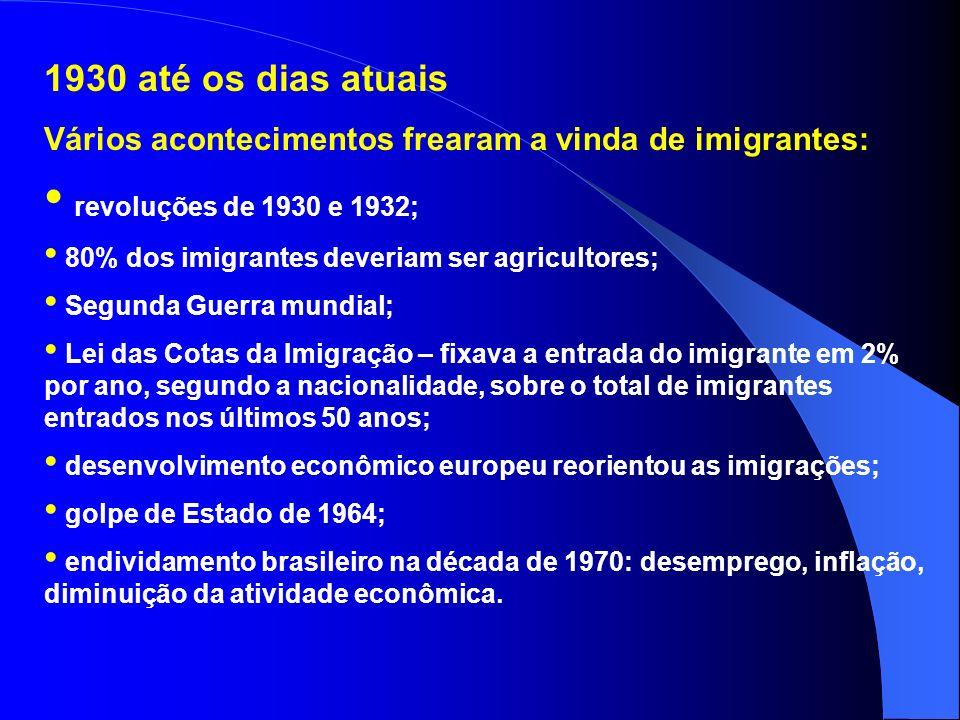 1850 a 1930 – italianos, espanhóis, alemães, sírio- libaneses, poloneses, ucranianos e japoneses. Fatores favoráveis: necessidade de mão de obra para