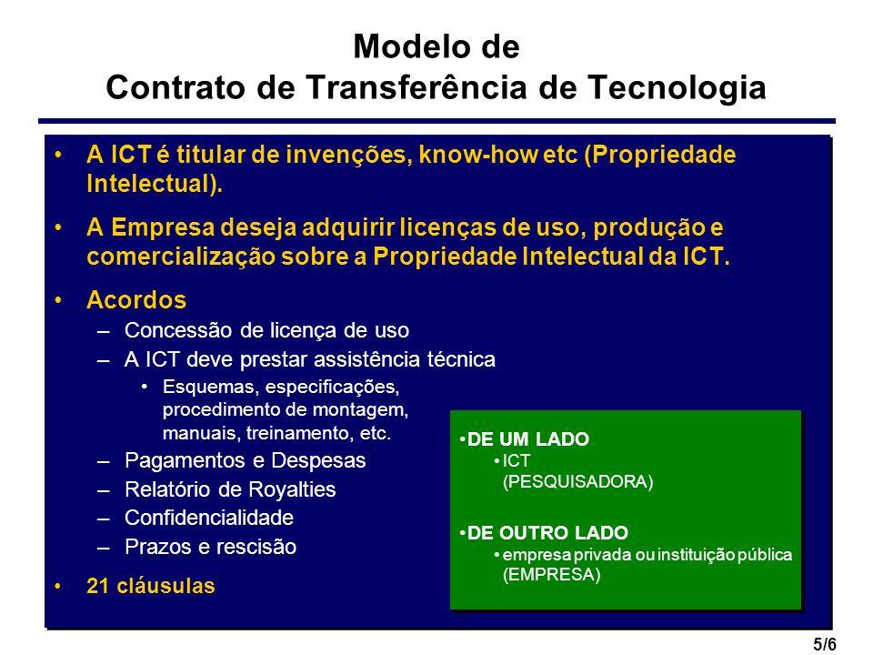 5/6 Modelo de Contrato de Transferência de Tecnologia A ICT é titular de invenções, know-how etc (Propriedade Intelectual). A Empresa deseja adquirir