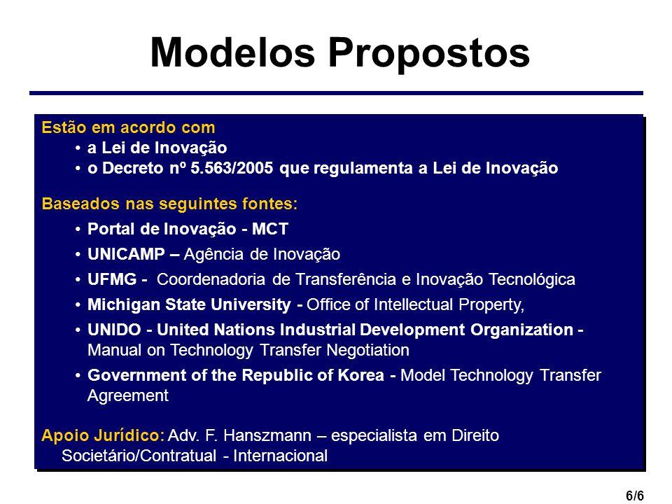6/6 Modelos Propostos Estão em acordo com a Lei de Inovação o Decreto nº 5.563/2005 que regulamenta a Lei de Inovação Baseados nas seguintes fontes: P