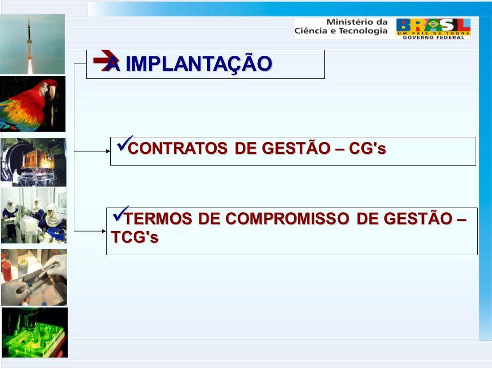 A IMPLANTAÇÃO A IMPLANTAÇÃO CONTRATOS DE GESTÃO – CG's CONTRATOS DE GESTÃO – CG's TERMOS DE COMPROMISSO DE GESTÃO – TCG's TERMOS DE COMPROMISSO DE GES