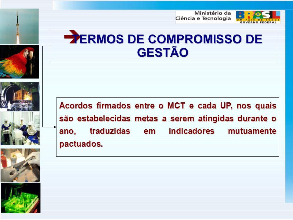 TERMOS DE COMPROMISSO DE GESTÃO TERMOS DE COMPROMISSO DE GESTÃO Acordos firmados entre o MCT e cada UP, nos quais são estabelecidas metas a serem atingidas durante o ano, traduzidas em indicadores mutuamente pactuados.
