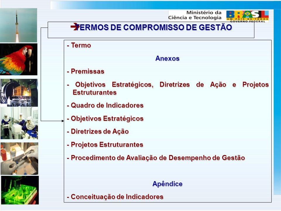 TERMOS DE COMPROMISSO DE GESTÃO TERMOS DE COMPROMISSO DE GESTÃO - Termo Anexos - Premissas - Objetivos Estratégicos, Diretrizes de Ação e Projetos Estruturantes - Quadro de Indicadores - Objetivos Estratégicos - Diretrizes de Ação - Projetos Estruturantes - Procedimento de Avaliação de Desempenho de Gestão Apêndice - Conceituação de Indicadores