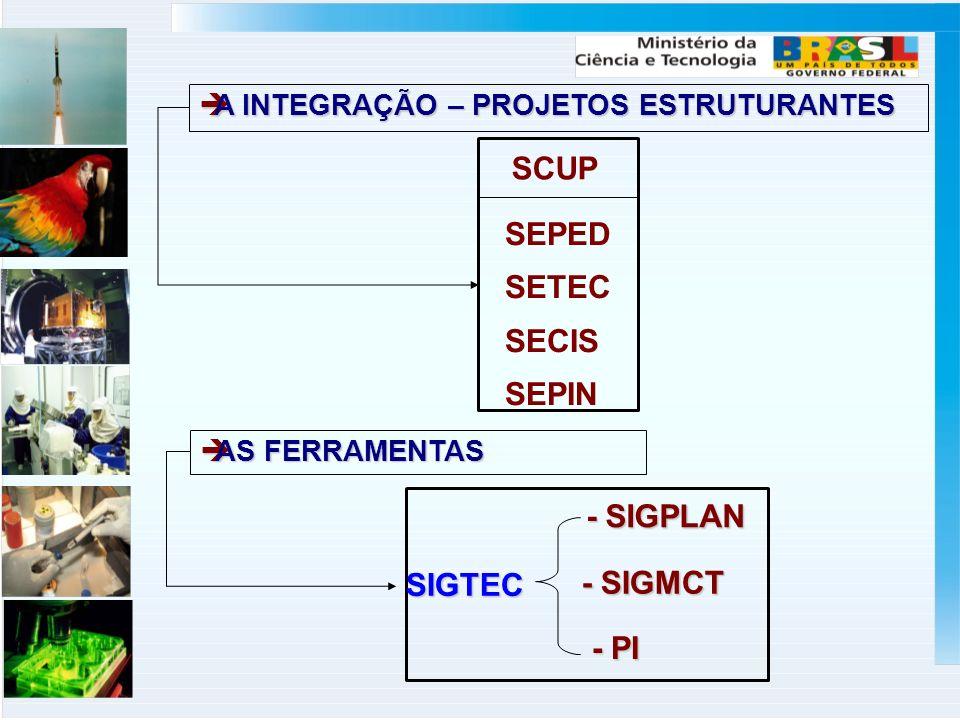 SCUP SEPED SETEC SECIS SEPIN SIGTEC - SIGPLAN - SIGMCT - PI A INTEGRAÇÃO – PROJETOS ESTRUTURANTES A INTEGRAÇÃO – PROJETOS ESTRUTURANTES AS FERRAMENTAS