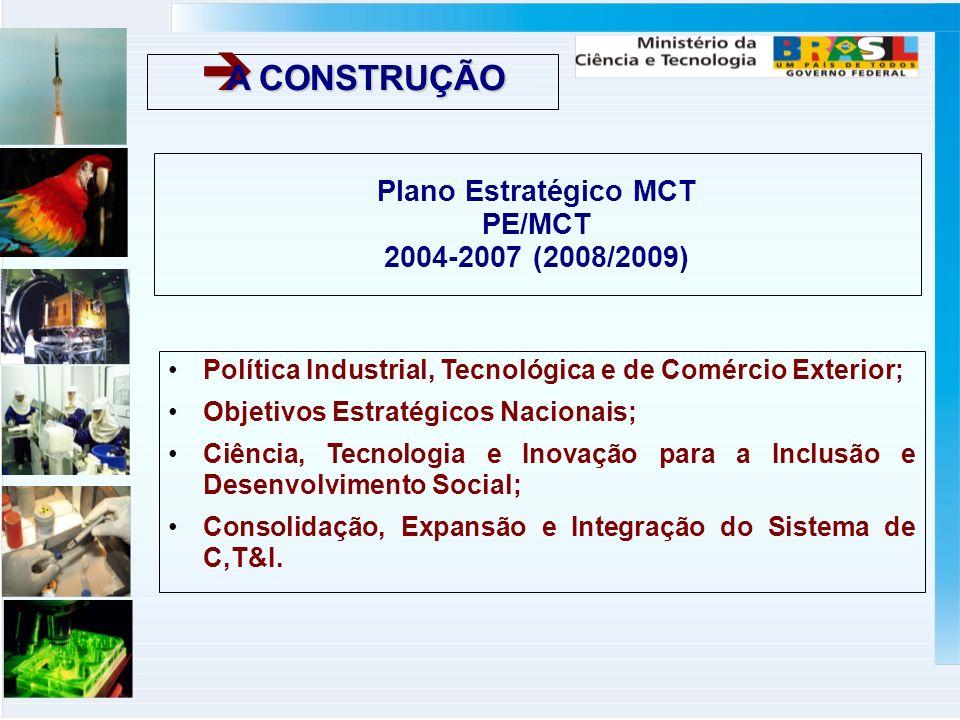 Plano Estratégico MCT PE/MCT 2004-2007 (2008/2009) Política Industrial, Tecnológica e de Comércio Exterior; Objetivos Estratégicos Nacionais; Ciência, Tecnologia e Inovação para a Inclusão e Desenvolvimento Social; Consolidação, Expansão e Integração do Sistema de C,T&I.