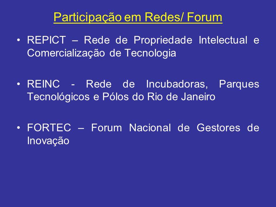 Participação em Redes/ Forum REPICT – Rede de Propriedade Intelectual e Comercialização de Tecnologia REINC - Rede de Incubadoras, Parques Tecnológico