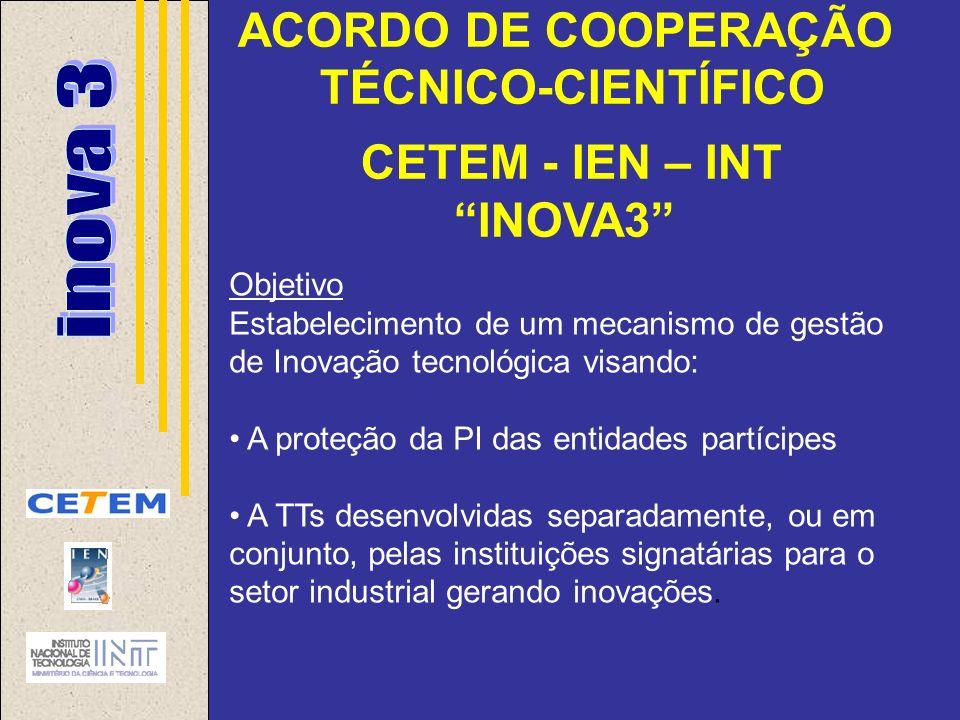 ACORDO DE COOPERAÇÃO TÉCNICO-CIENTÍFICO CETEM - IEN – INT INOVA3 Objetivo Estabelecimento de um mecanismo de gestão de Inovação tecnológica visando: A