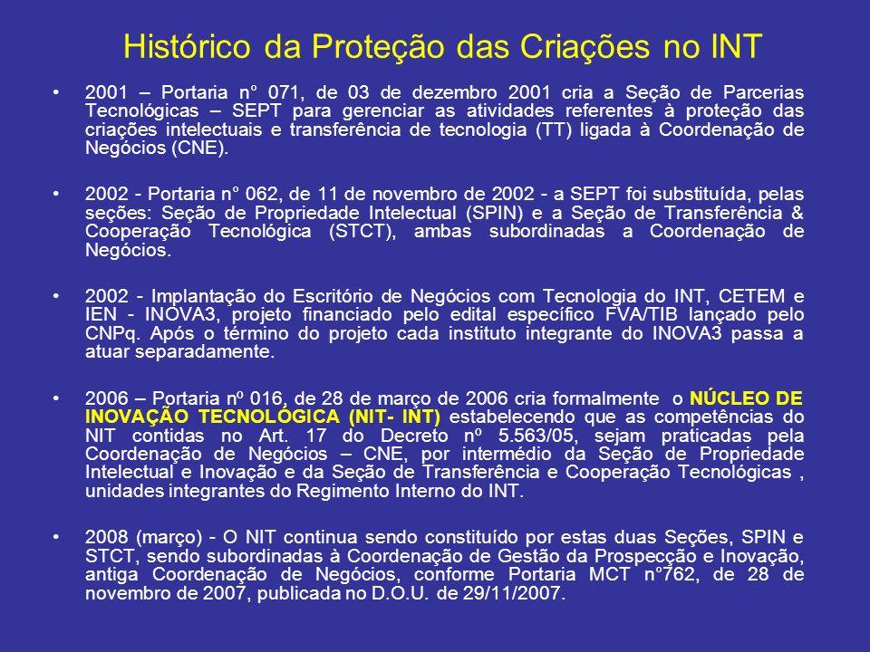 2001 – Portaria n° 071, de 03 de dezembro 2001 cria a Seção de Parcerias Tecnológicas – SEPT para gerenciar as atividades referentes à proteção das cr