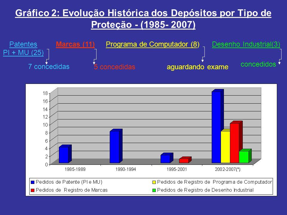 Gráfico 2: Evolução Histórica dos Depósitos por Tipo de Proteção - (1985- 2007) Patentes PI + MU (25) Marcas (11)Programa de Computador (8)Desenho Ind
