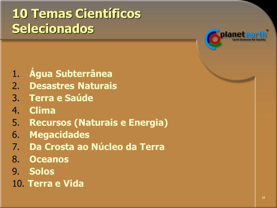10 10 Temas Científicos Selecionados 1. Água Subterrânea 2.