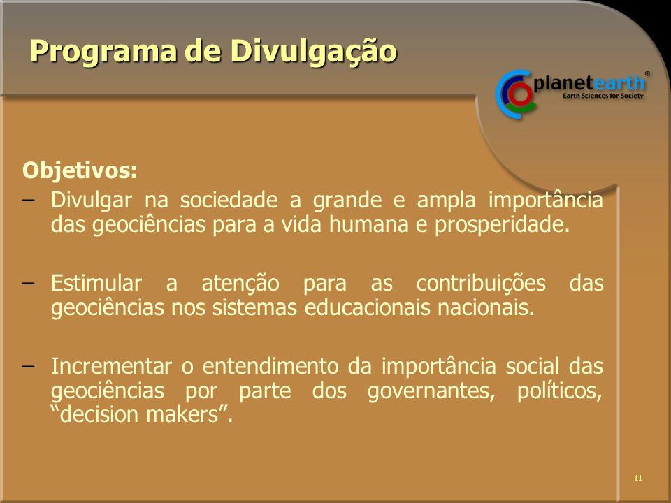 11 Programa de Divulgação Objetivos: –Divulgar na sociedade a grande e ampla importância das geociências para a vida humana e prosperidade.