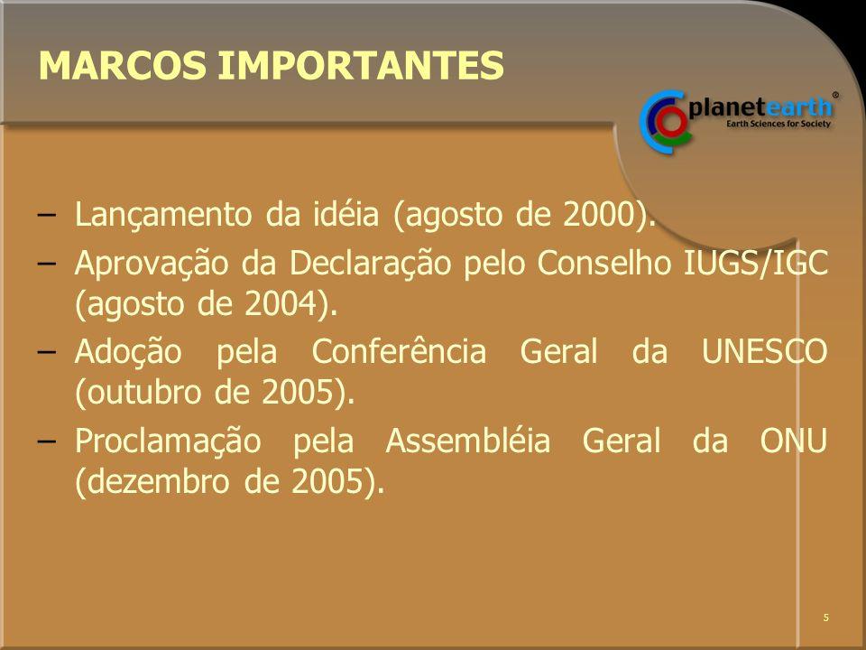 6 Quem está liderando.–A União Internacional de Ciências Geológicas - IUGS.