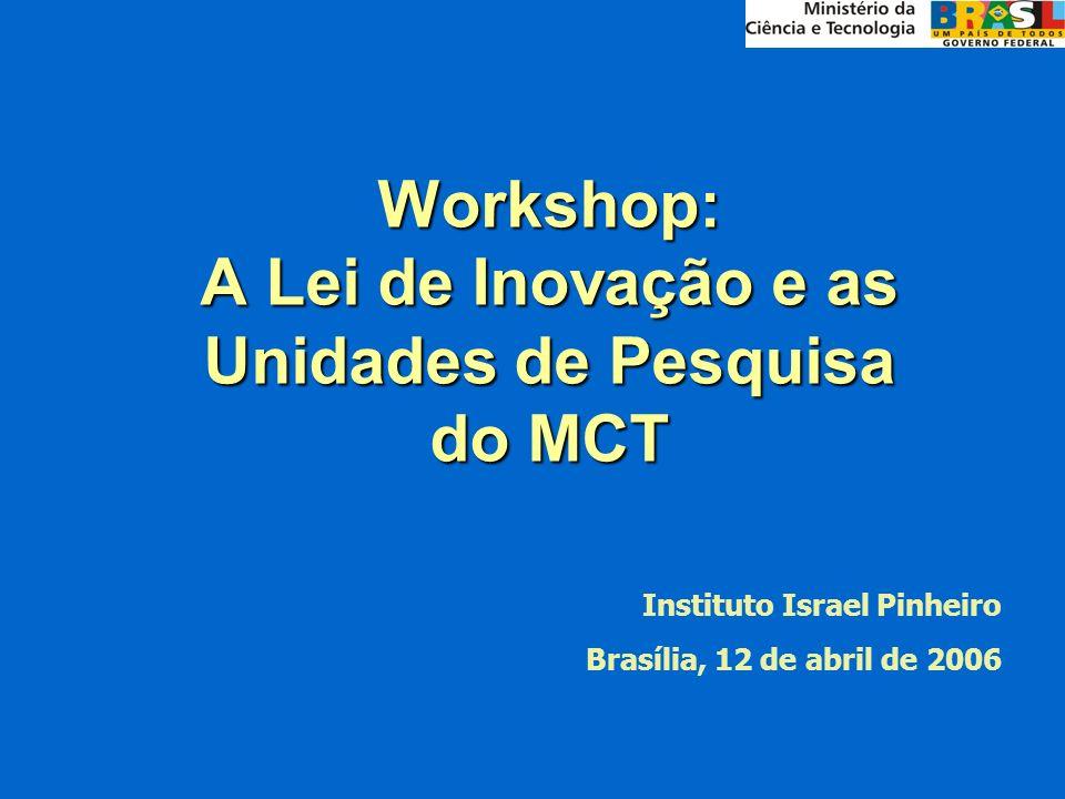 Workshop: A Lei de Inovação e as Unidades de Pesquisa do MCT Instituto Israel Pinheiro Brasília, 12 de abril de 2006