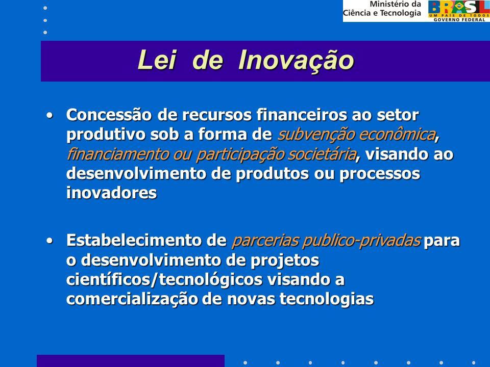 Concessão de recursos financeiros ao setor produtivo sob a forma de subvenção econômica, financiamento ou participação societária, visando ao desenvolvimento de produtos ou processos inovadoresConcessão de recursos financeiros ao setor produtivo sob a forma de subvenção econômica, financiamento ou participação societária, visando ao desenvolvimento de produtos ou processos inovadores Estabelecimento de parcerias publico-privadas para o desenvolvimento de projetos científicos/tecnológicos visando a comercialização de novas tecnologiasEstabelecimento de parcerias publico-privadas para o desenvolvimento de projetos científicos/tecnológicos visando a comercialização de novas tecnologias Lei de Inovação