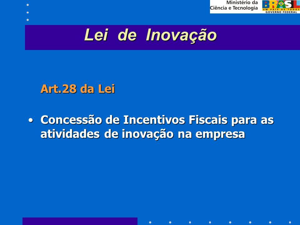 Art.28 da Lei Concessão de Incentivos Fiscais para as atividades de inovação na empresaConcessão de Incentivos Fiscais para as atividades de inovação na empresa Lei de Inovação