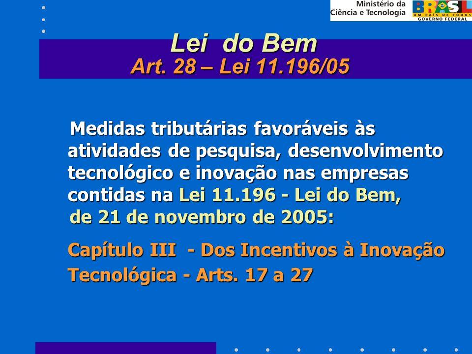Medidas tributárias favoráveis às atividades de pesquisa, desenvolvimento tecnológico e inovação nas empresas contidas na Lei 11.196 - Lei do Bem, Medidas tributárias favoráveis às atividades de pesquisa, desenvolvimento tecnológico e inovação nas empresas contidas na Lei 11.196 - Lei do Bem, de 21 de novembro de 2005: de 21 de novembro de 2005: Capítulo III - Dos Incentivos à Inovação Tecnológica - Arts.