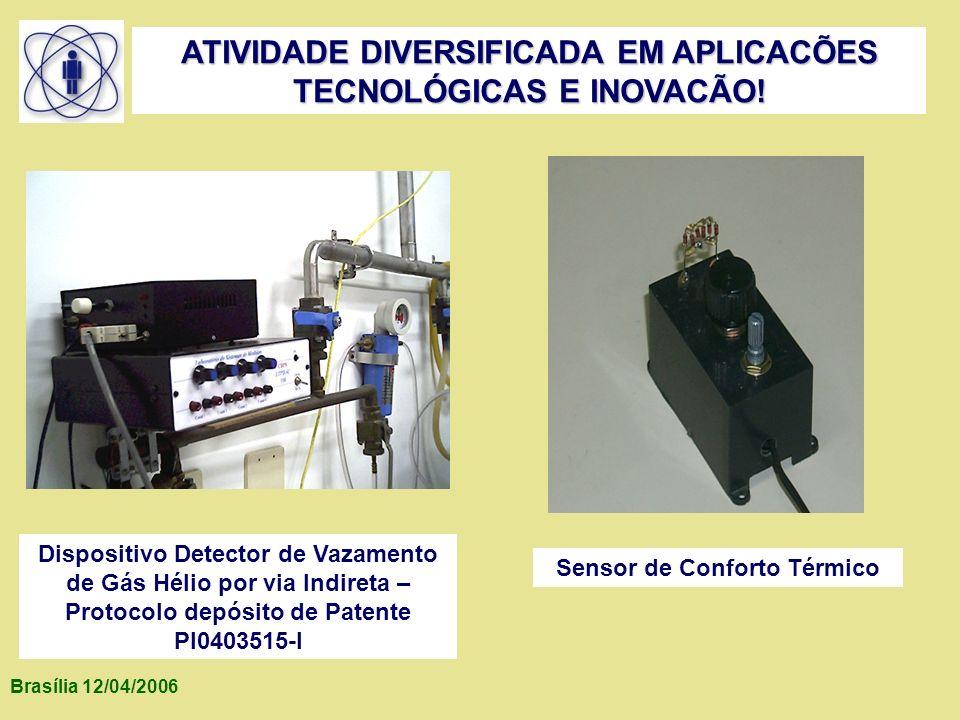 Brasília 12/04/2006 ATIVIDADE DIVERSIFICADA EM APLICACÕES TECNOLÓGICAS E INOVACÃO! Dispositivo Detector de Vazamento de Gás Hélio por via Indireta – P