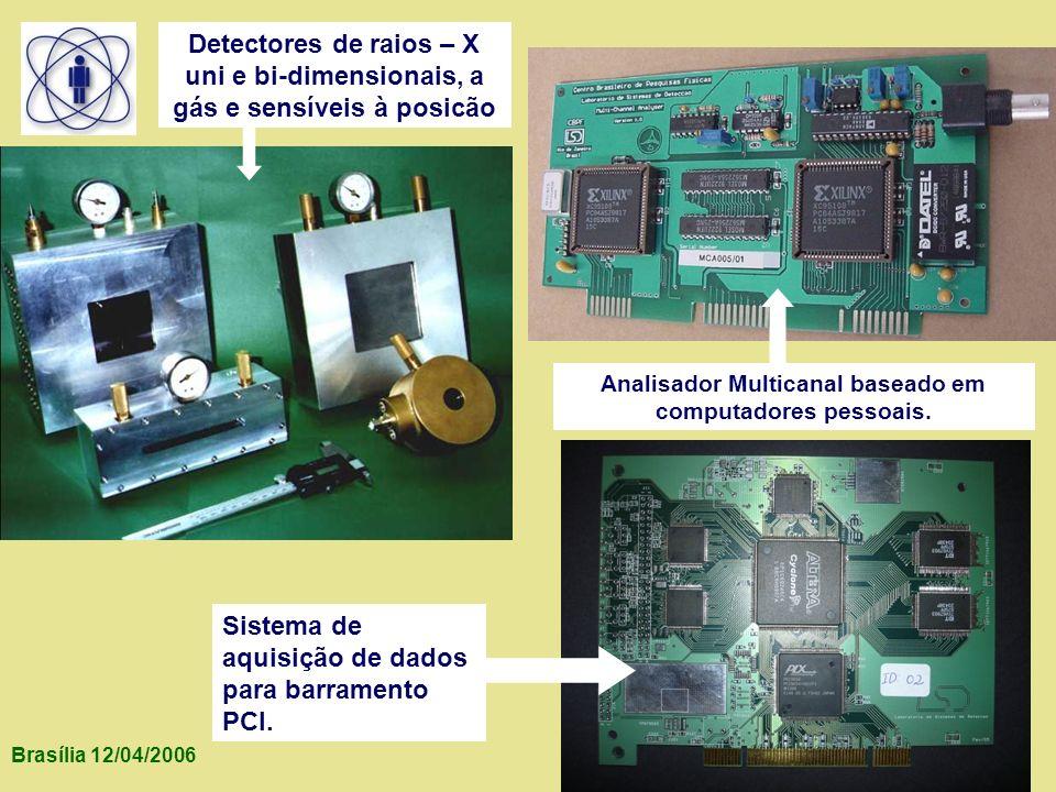 Brasília 12/04/2006 Detectores de raios – X uni e bi-dimensionais, a gás e sensíveis à posicão Analisador Multicanal baseado em computadores pessoais.