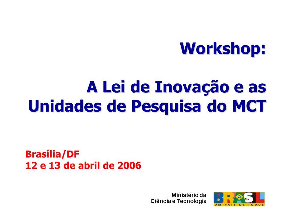 Workshop: A Lei de Inovação e as Unidades de Pesquisa do MCT Brasília, 12 e 13/abril/2006 Workshop: A Lei de Inovação e as Unidades de Pesquisa do MCT Brasília, 12 e 13/abril/2006 è ICT poderá ceder seus direitos sobre a criação (manifestação expressa e motivada, a título não- oneroso) para que o criador os exerça em seu próprio nome e sob sua inteira responsabilidade Artigo 11 Cap III Do Estímulo à Participação das ICT no Processo de Inovação