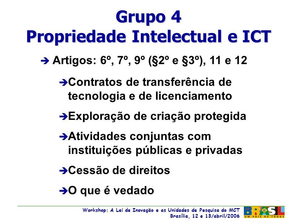 Workshop: A Lei de Inovação e as Unidades de Pesquisa do MCT Brasília, 12 e 13/abril/2006 Workshop: A Lei de Inovação e as Unidades de Pesquisa do MCT Brasília, 12 e 13/abril/2006 è vedado dirigente, criador ou servidor, militar, empregado ou prestador de serviços de ICT divulgar, noticiar ou publicar, sem autorização expressa da ICT è no descumprimento, penalidades .